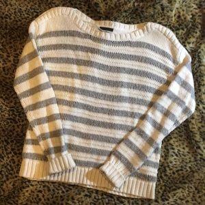 Grey And White Striped Worthington Sweater